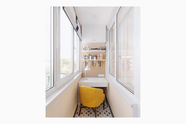 Рабочий кабинет-балкон в однакомнатной квартире визуализация