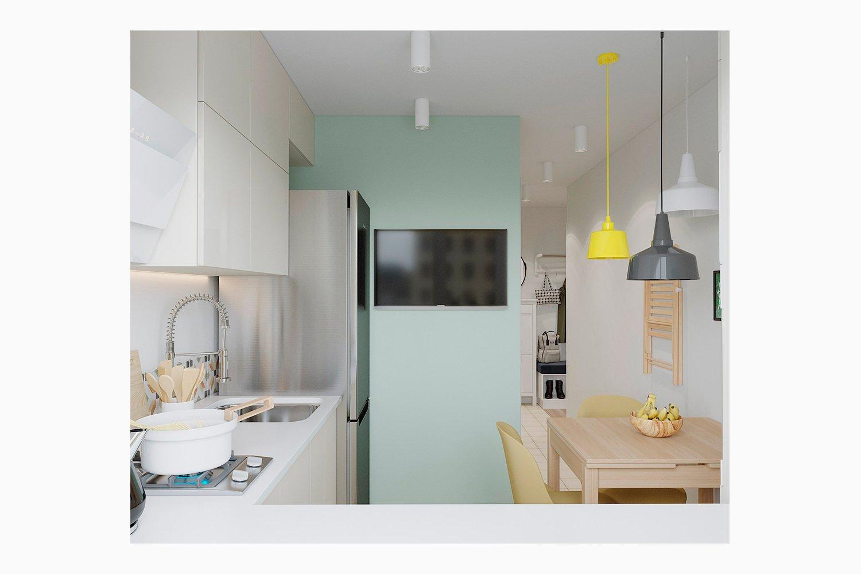 Визуализация кухни в однакомнатной квартире